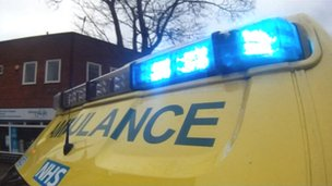Ambulance on blue lights