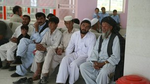 Passengers in the departure lounge at Kabul airport