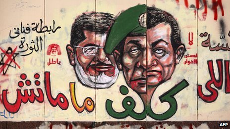Graffiti showing the face of Mubarak morphing into that of the former military leader, Gen Tantawi with President Morsy behind.