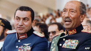 Mubarak with his predecessor Anwar Sadat just before he was assassinated in 1981