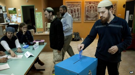 Israeli Jewish settler votes in legislative elections