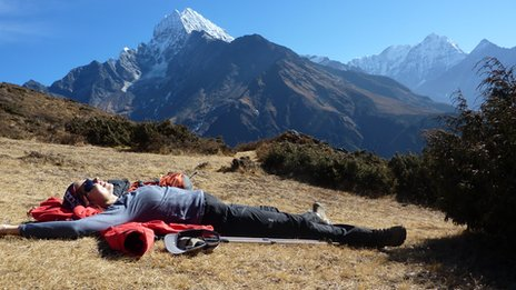 Zsuzsanna Sarpatki resting up Everest