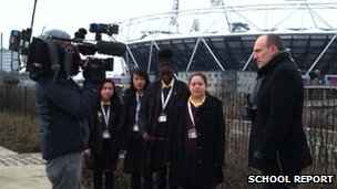 The team prepare to be interviewed by BBC sports news correspondent Dan Roan for the News Channel