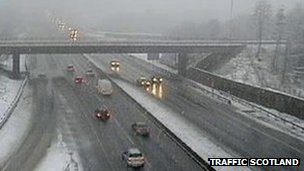 snow on M80 at Banknock