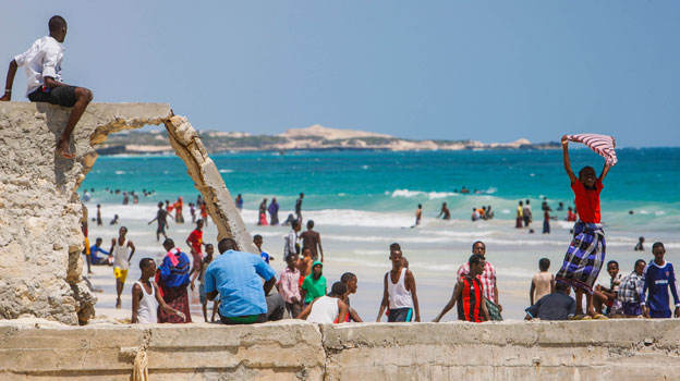 Residents of Mogadishu enjoy the beach