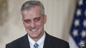 Current Deputy National Security Adviser Denis McDonough smiles in the East Room of the White House in Washington, 25 January 2013