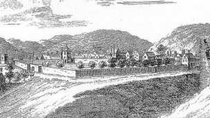 Nantclwyd y Dre Sketch from late 18th Century