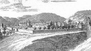 Nantclwyd y Dre Sketch from late 18th Century