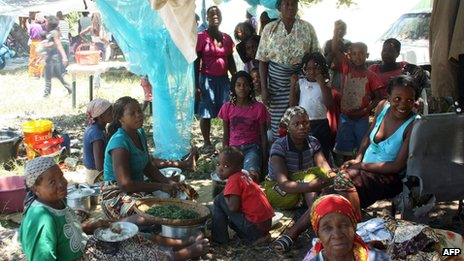Displaced people in Chokwe, Mozambique, on 24/1/13