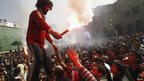 Al-Ahly fans celebrate 21 death sentences passed on fans of Port Said's al-Masry football club involved in a football stadium massacre last year on 26 January 2013