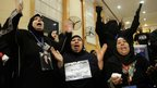 Families of the victims of Egypt's 2012 football riots react with joy in court, after 21 of the accused are sentenced to death in Cairo on 26 January 2013