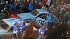 Participants mix with crowds at the start of the Monte Carlo Classic Rally