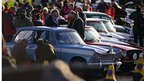 Line-up of classic cars taking part in the Monte Carlo Classic Rally
