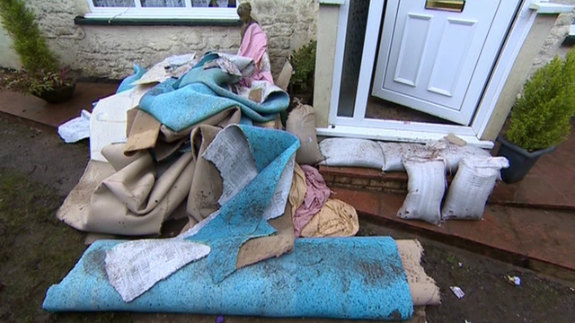 Flood-damaged carpets