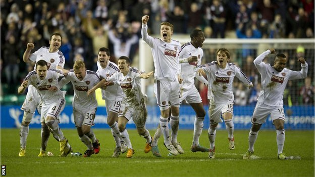 Hearts celebrate their penalty shoot-out win