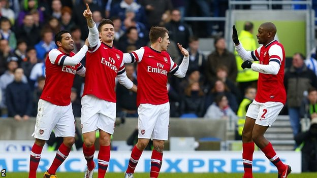 Arsenal striker Olivier Giroud (second from left) celebrates scoring