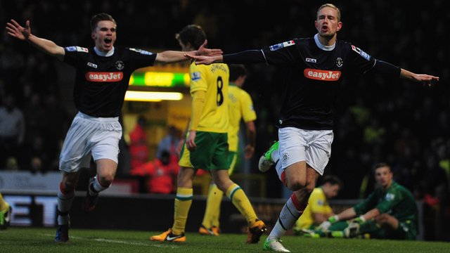 Luton's Scott Rendell celebrates his goal against Norwich