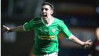 Joe Gormley shows his delight after making it 2-0 to the Premiership leaders