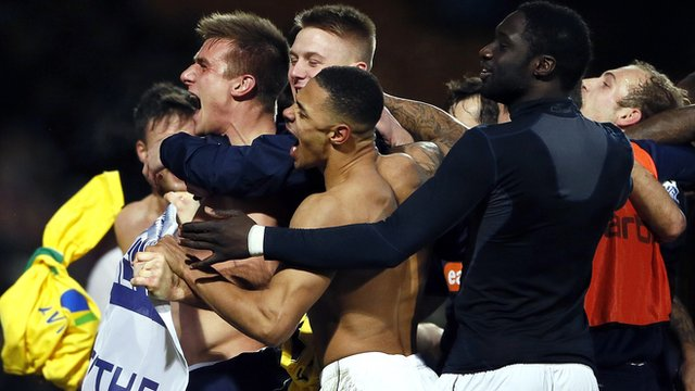 Luton celebrating beating Norwich
