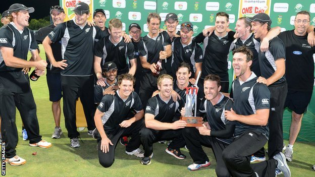 New Zealand celebrate after winning the one-day series