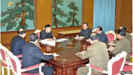 North Korean leader Kim Jong-un meets top security officials in Pyongyang, 27 January 2013