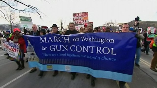 People with banners at the gun control rally