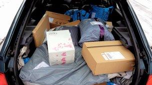 Car boot full of parcels