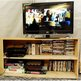 A television screen and DVDs