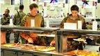 Prince Harry in the canteen at Camp Bastion