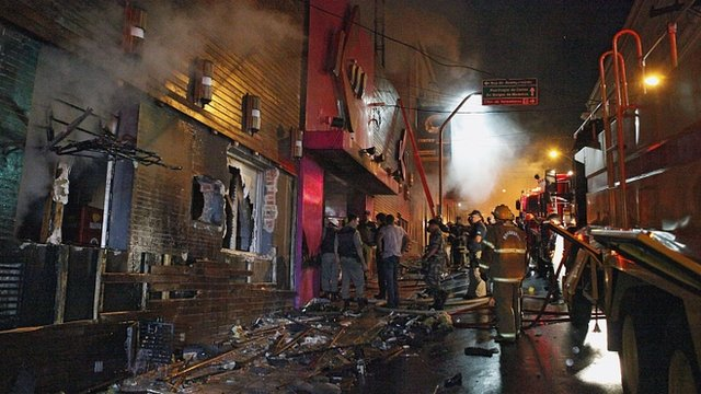 Aftermath of fire at Kiss club in Santa Maria, Rio Grande do Sul
