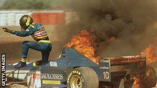 Pedro Diniz escapes his car during the 1996 Argentine GP