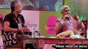 Vikas Swarup (l) and Ashok Ferry (r) at the Jaipur Literature Festival