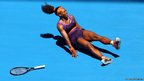 Serena Williams falls on the court injuring her ankle in her first round match against Edina Gallovits-Hall