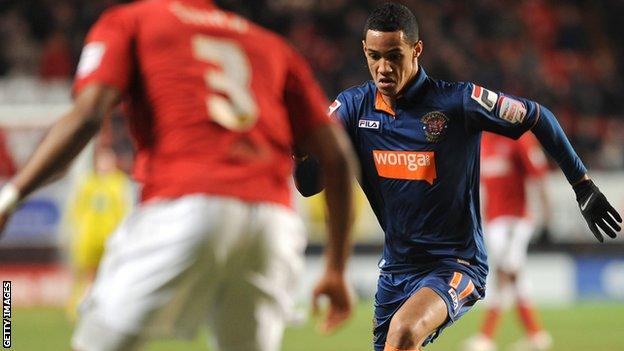 Blackpool forward Thomas Ince