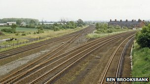 The railway line running south from Church Fenton
