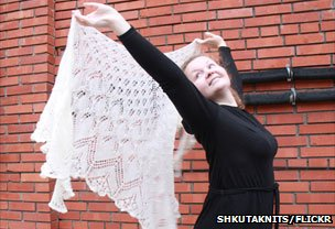 Olga and shawl (photo ShkutaKnits/Flickr)