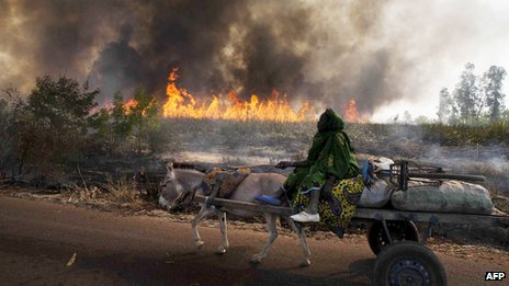 A fire burns fields in the wake of the French-Malian offensive near Diabaly on 23 January 2013