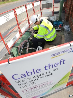 BT engineer works on stolen cable