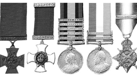 Some of the major's medal collection from two wars