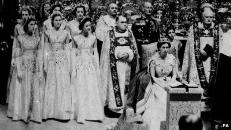 The Queen at her coronation in Westminster Abbey