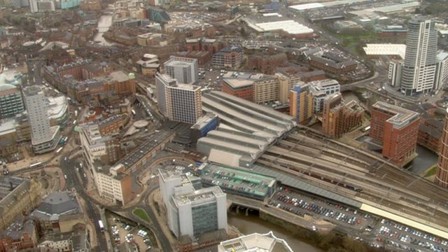 A view of the existing station in Leeds, close to where the HS2 station is planned