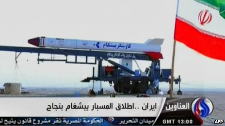Iranian state TV pictures showing the rocket that reportedly carried the monkey into space (28 January 2013)