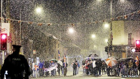 A flag protest was held in east Belfast during Monday night's snow