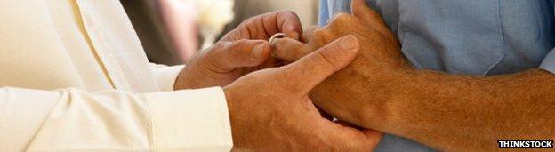 Men exchange wedding rings