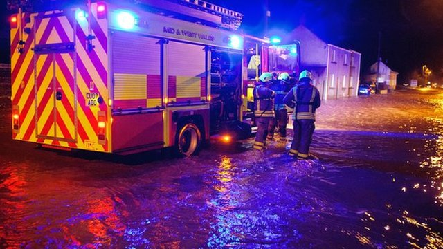 Firefighters deal with floodwater in Llanddowror