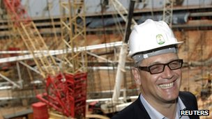 FIFA Secretary General Jerome Valcke smiles during a visit to the construction site of the National Stadium