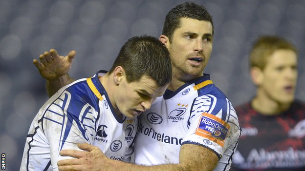 Jonathan Sexton and Rob Kearney in action for Leinster