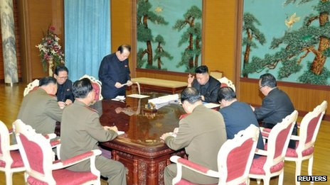 North Korean leader Kim Jong-un (C) presides over a meeting on state security in an undated picture released by North Korea&#039;s official KCNA news agency in Pyongyang on 27 January 2013