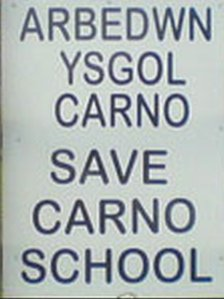 Save Carno school sign from 2007
