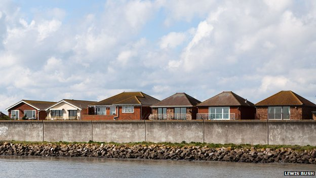 Houses behind the sea wall